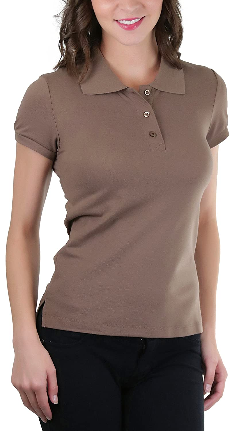 79168358 5% spandex. Feel comfort and elegance in this wonderful top. Short Sleeves.  Slim Fit. Collared Button Neckline. Polo. Pique Style. Pull On Closure.