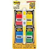 Post-It Flags Value Pack with Free Flag + Highlighter, Assorted Primary Colors, 1-Inch wide, 50/Dispenser, 4-Dispensers (680-RYBGVA)