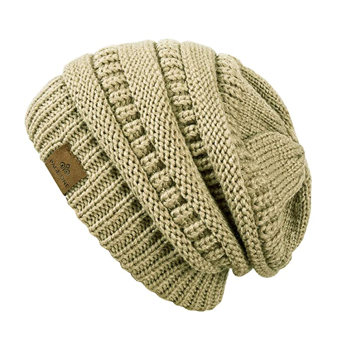 eafb9a2e2cc PAGE ONE Winter Warm Trendy Slouchy Chunky Knit Beanie Hat for Women Beige