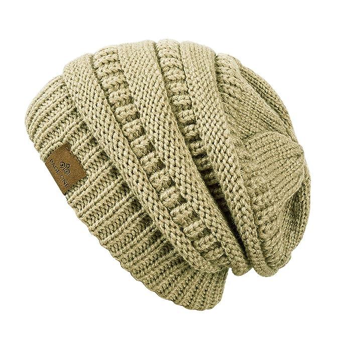 97724a9da0776 PAGE ONE Winter Warm Trendy Slouchy Chunky Knit Beanie Hat for Women Beige