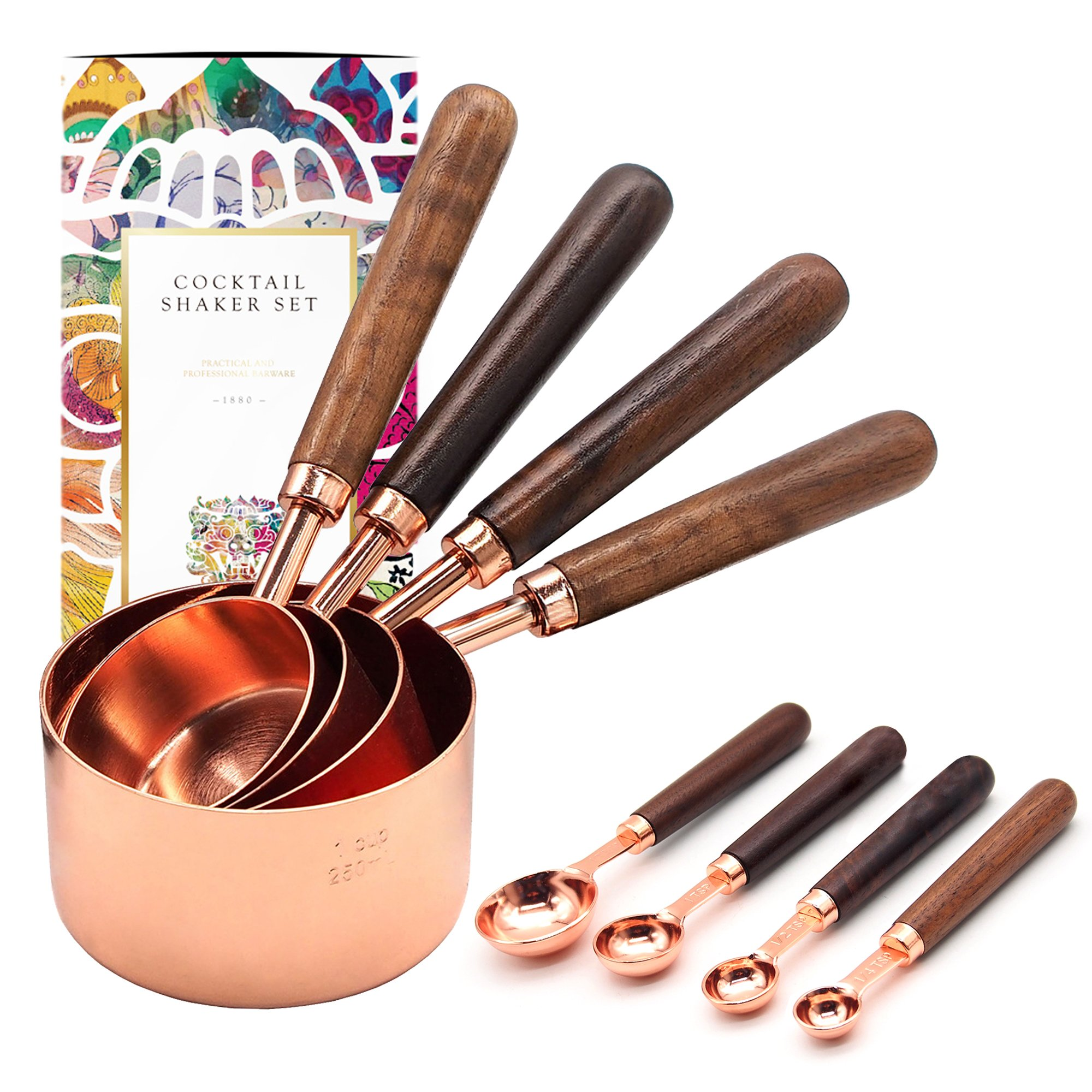 Homestia Measuring Cups and Spoons Set with Wood Handle Stainless Steel 8 PIECE for Dry and Liquid Ingredients Engraved Meaurement Heavy Duty Baking & Cooking Utensils