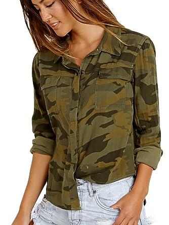 e78f070f Amazon.com: Splendid Women's Camo Print Double Cloth Shirt Military Olive  Button-up Shirt: Clothing