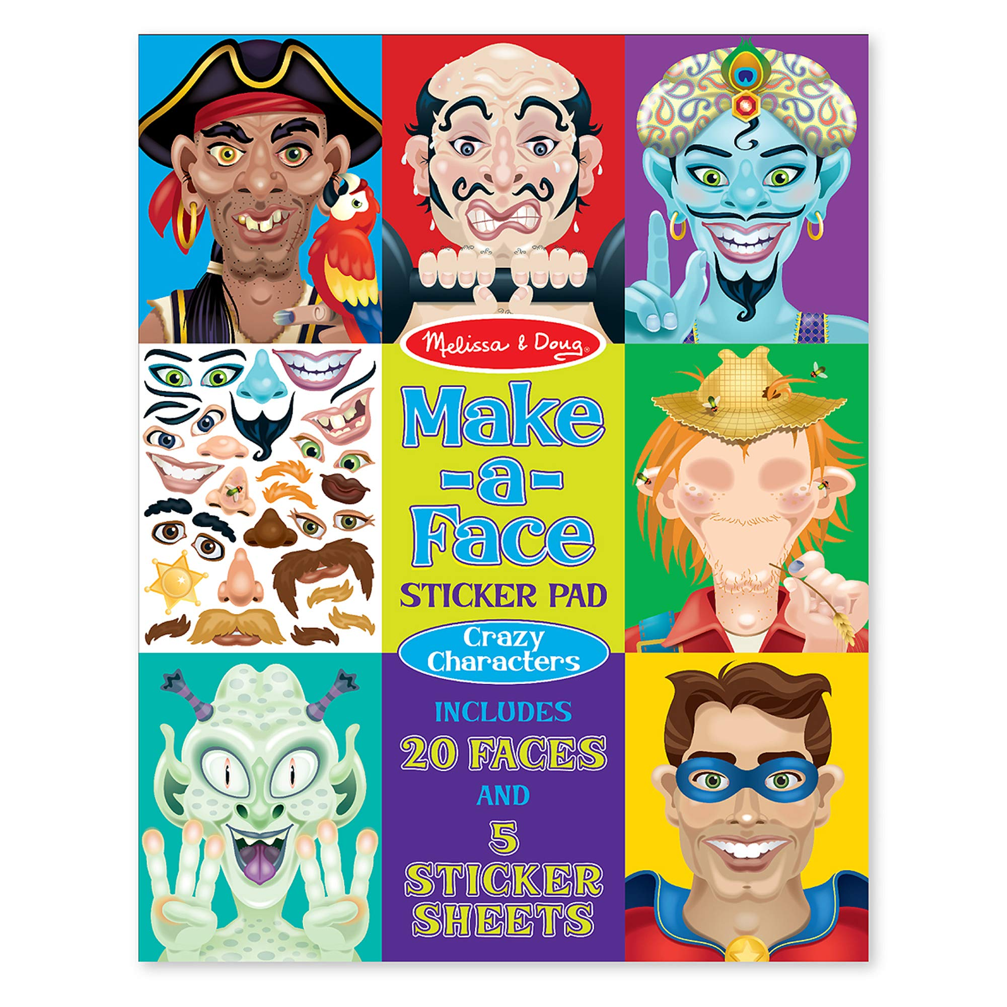 Melissa & Doug Crazy Characters Make-a-Face Sticker Pad                Melissa & Doug Water Wow! Bundle - Animals, Alphabet and Numbers                merka Toddler Learning Kit: Letters, Numbers, Shapes and Colors – Recommended for Children Ages 2 to 6 – Complete Kit Contains 58 Flash Cards, Practice Book, Sticker Set and 4 Full-Color Posters