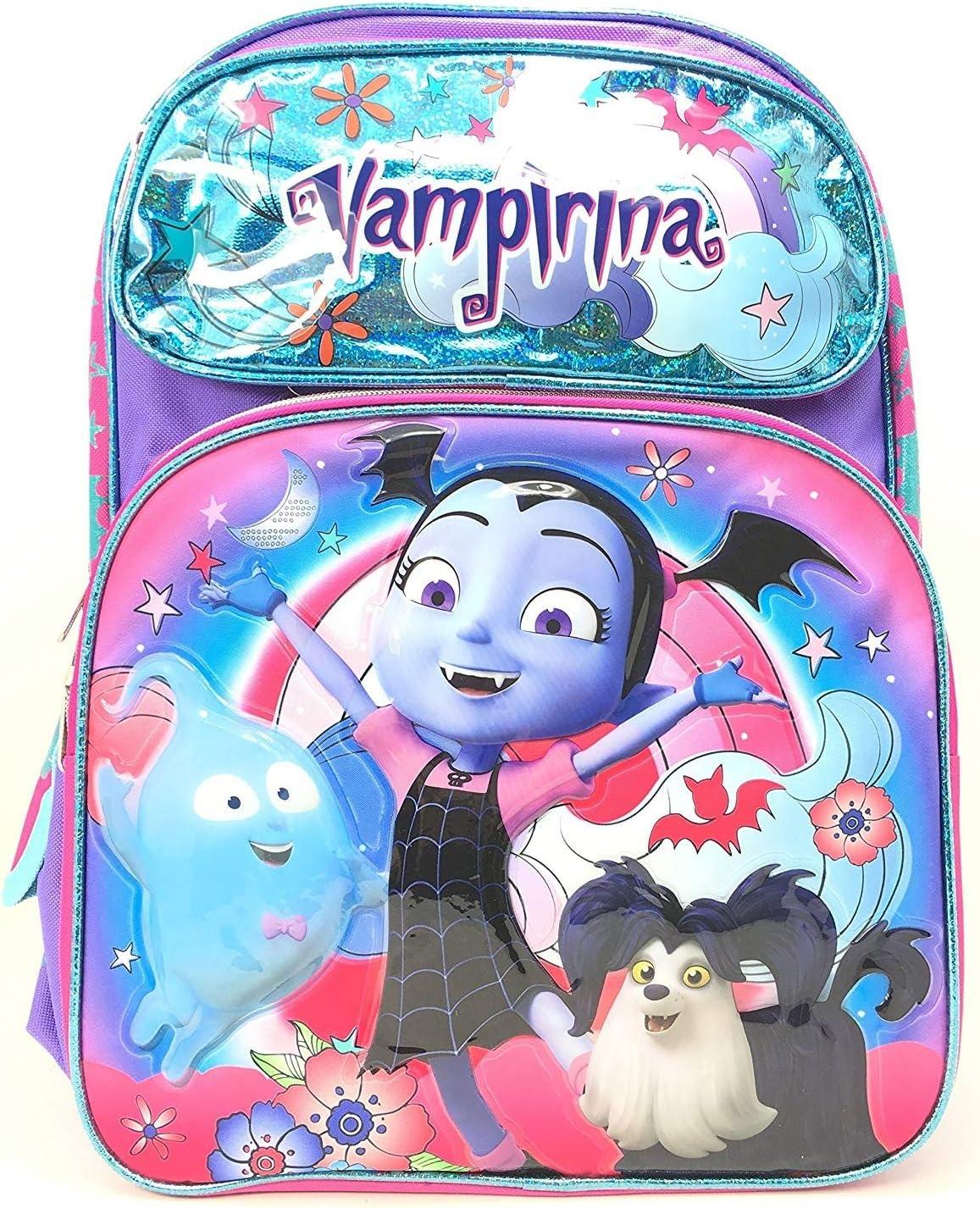 "Disney Vampirina 16/"" Large Shine Purple School Book Backpack"