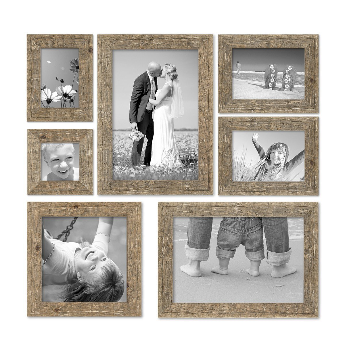 PHOTOLINI 7er Bilderrahmen-Set 10x10 10x15 13x18 20x20 und 20x30 cm ...