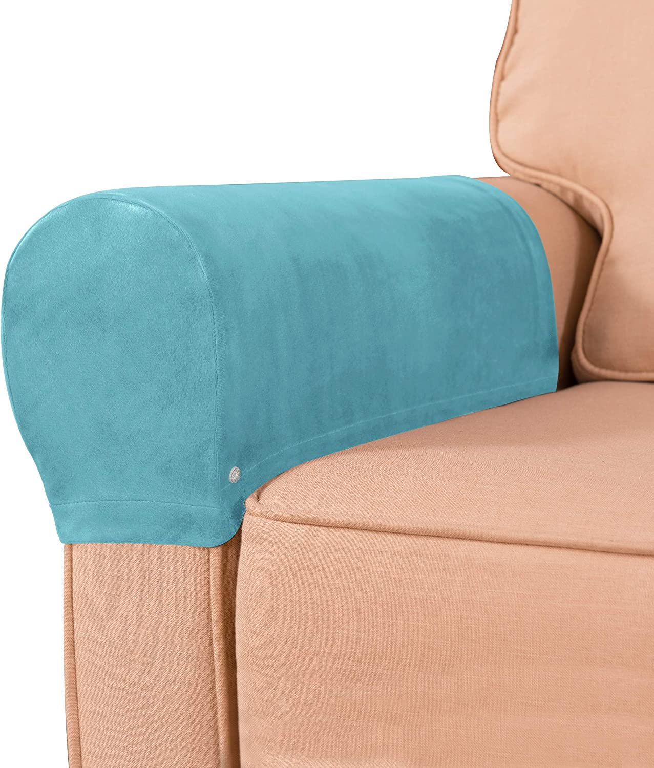 subrtex Velvet Armchair Covers Spandex Stretch Armrest Covers Couch Furniture Protector Armchair Slipcovers for Sofa with Free Twist Pins(Blue,2pcs)