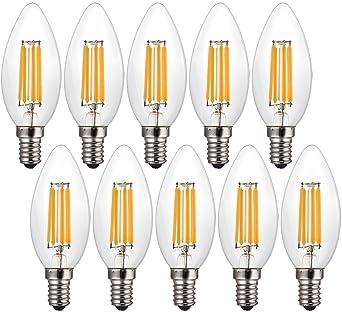 Canya LED luz bombilla Edison Candelabro LED filament bombillas 40 W equivalente, 2700 K lámpara
