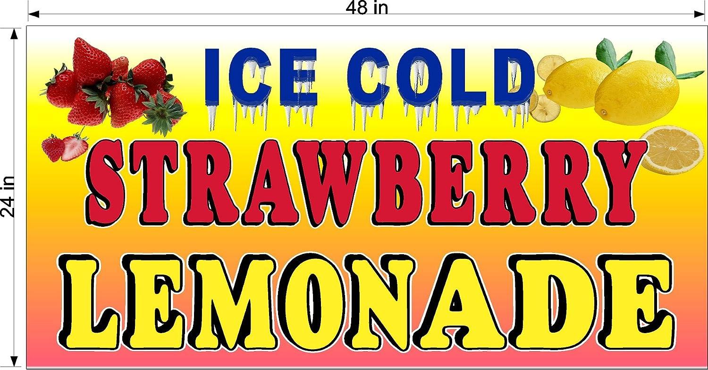 FRESH SQUEEZED STRAWBERRY LEMONADE LEMON ADE HORIZONTAL BANNER VARIOUS SIZES VINYL BANNERS 4 x 8