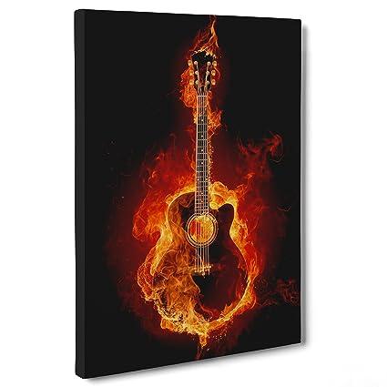 Cuadro sobre lienzo Canvas – ConKrea – Listo para colgar – Guitarra en llamas – Fuego