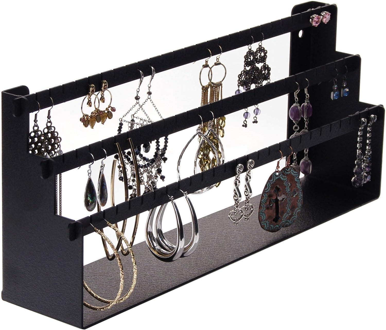 Angelynn s Long Earring Holder Organizer Closet Jewelry Storage Rack Wall or Tabletop Earring Card Display, Daelyn Black