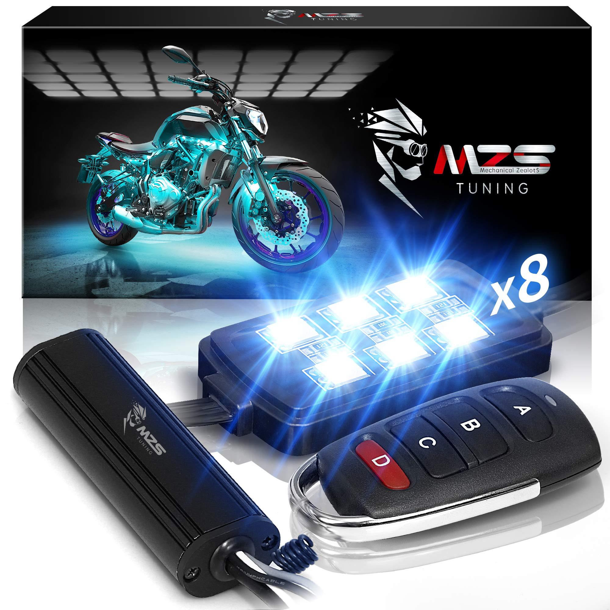 MZS LED Light Kit Multi-Color Neon RGB Strips Wireless Remote Controller for ATV UTV Cruiser Harley Davidson Ducati Suzuki Honda Triumph BMW Kawasaki Yamaha (Pack of 8)