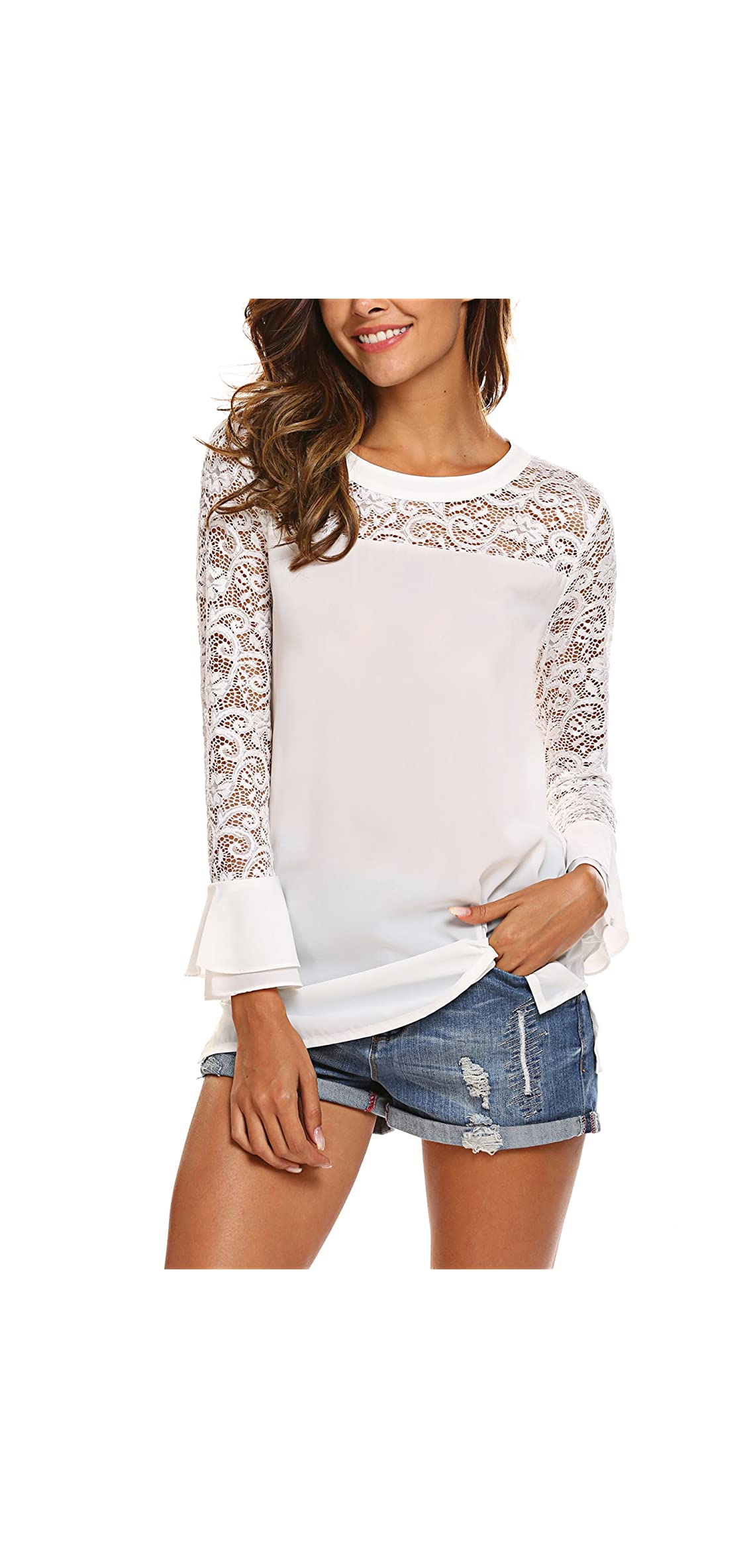 Lace Top Women's / Ruffle Bell Sleeve Blouse Boatneck