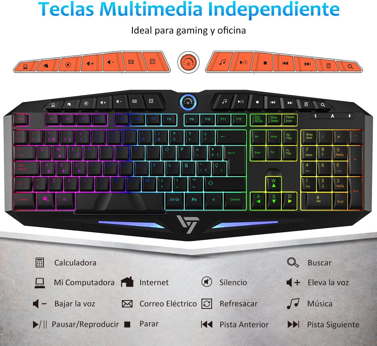 VICTSING Teclado Gaming, Retroiluminación LED y Impermeable ...