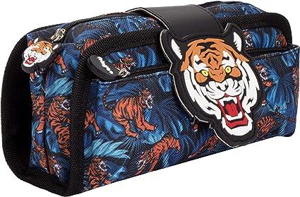 FRINGOO - Estuche para lápices con 2 compartimentos con cremallera para niños, color Tigre: Amazon.es: Oficina y papelería