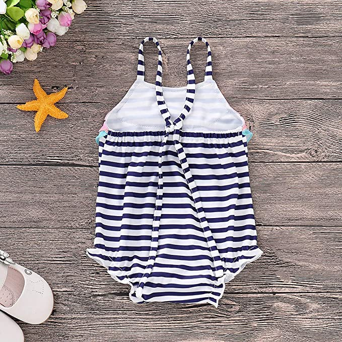 0a5b9b80d3 Amazon.com  Kingspinner Little Baby Girls Swimwear Cute Watermelon Stripe  Print Bathing Suit One Piece Swimsuit Beach Romper  Clothing