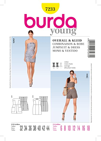 Burda Ladies Young Jumpsuit and Dress Sewing Pattern 7233