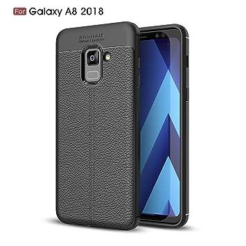 TiHen Funda Samsung Galaxy A8 2018, Funda 360 Grados [con Pantalla de Vidrio Templado] Ultrafino Funda de Cuero Case Cover Skin telefonía Carcasas ...