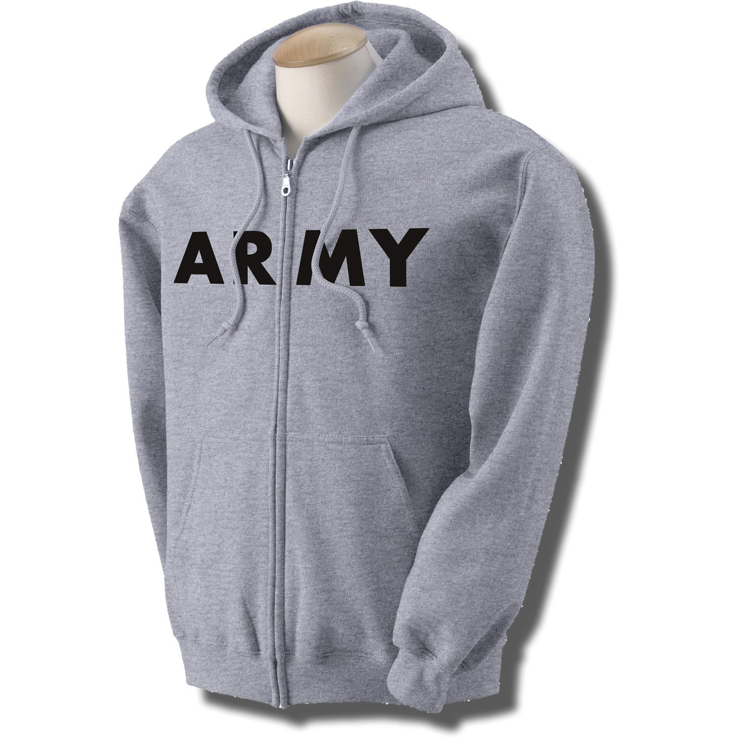 ARMY Full-Zip Hooded Sweatshirt in Gray at Amazon Men's Clothing ...