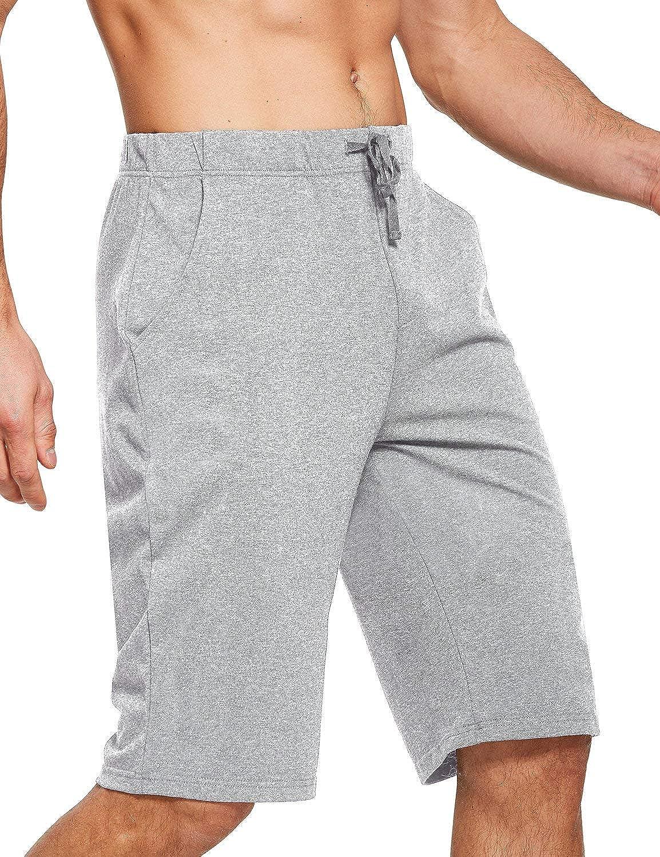 "BALEAF Men's 12"" Long Shorts Cotton Yoga Workout Athletic Pajama Walking Lounge Sweat Jersey Shorts Pockets"