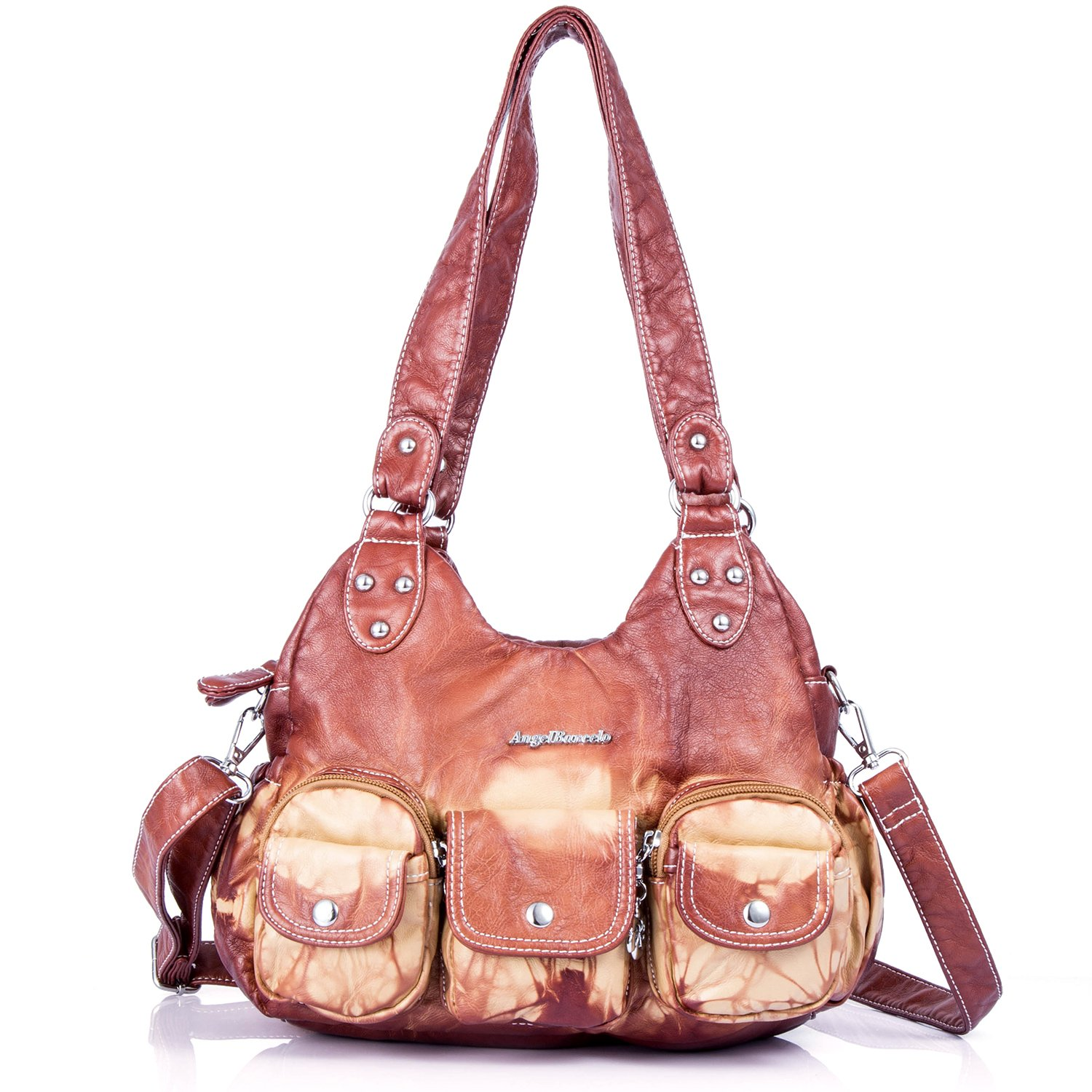 Soft Roomy Fashion Hobo Womens Handbags Ladies Purses Satchel Shoulder Bags Tote Washed Leather Bag (XS161497 Brown)