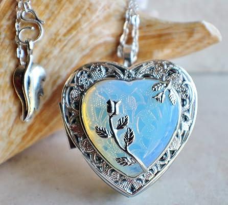 White Opal Crystal Heart Music Box Locket