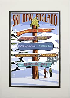 product image for New England - Ski Areas Destinations Sign (11x14 Double-Matted Art Print, Wall Decor Ready to Frame)