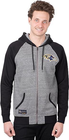 fd7461ae NFL Baltimore Ravens Men's Full Zip Hoodie Sweatshirt Raglan Jacket, Team  Color, Gray, Medium