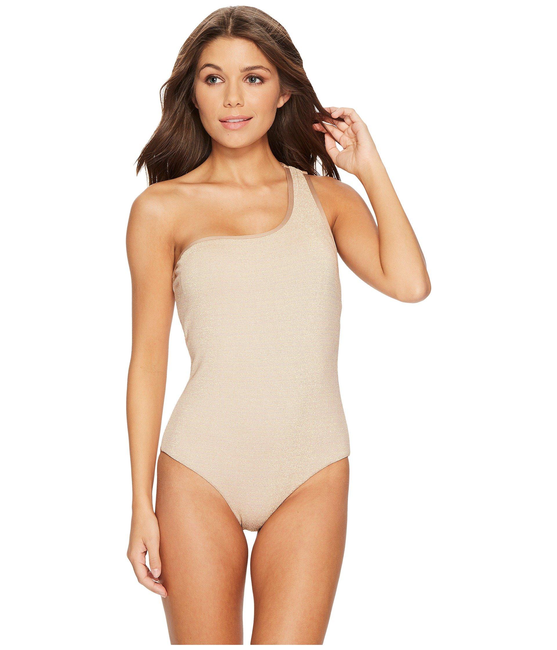 Jantzen Women's Texture Shoulder One Piece Swimsuit, Gold, 12