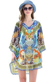890c046476 MYPASSA Cover Up for Swimwear Women Summer Leoprd Floral Chiffon Bathing  Suit