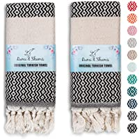 RUMI & SHAMS Turkish Hand Towel for Bathroom and Kitchen – 2 Pcs Luxurious Decorative Hand Towels for Bathroom – 100…