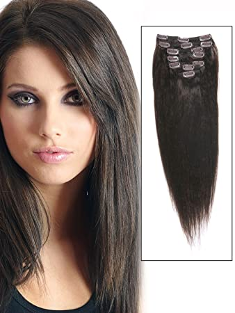 AbHairR Cheap Real Short Clip In Remy Human Hair Extensions 14 Inch Dark Brown