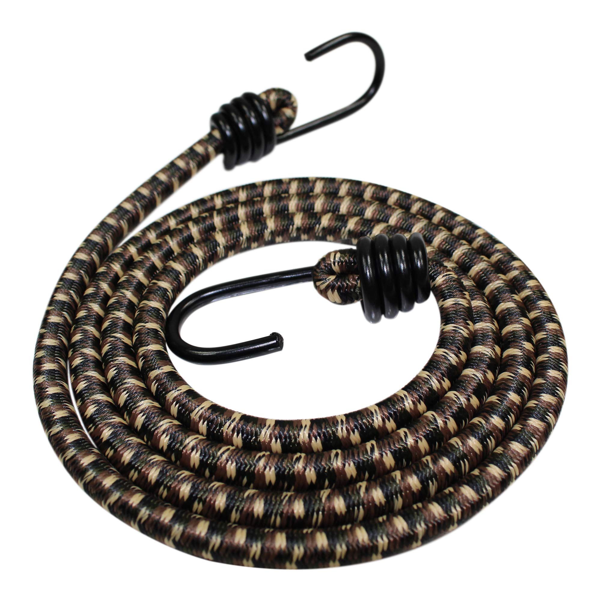 Bungee Cord with Hooks (3/8 in 4-Pack) - SGT KNOTS - Marine Grade Bungee Cords with 2 Hooks - Heavy Duty Bungee Cord Straps - Bungees for Bikes, Tie Downs, Camping, Cars (56 in - Woodland Camo) by SGT KNOTS