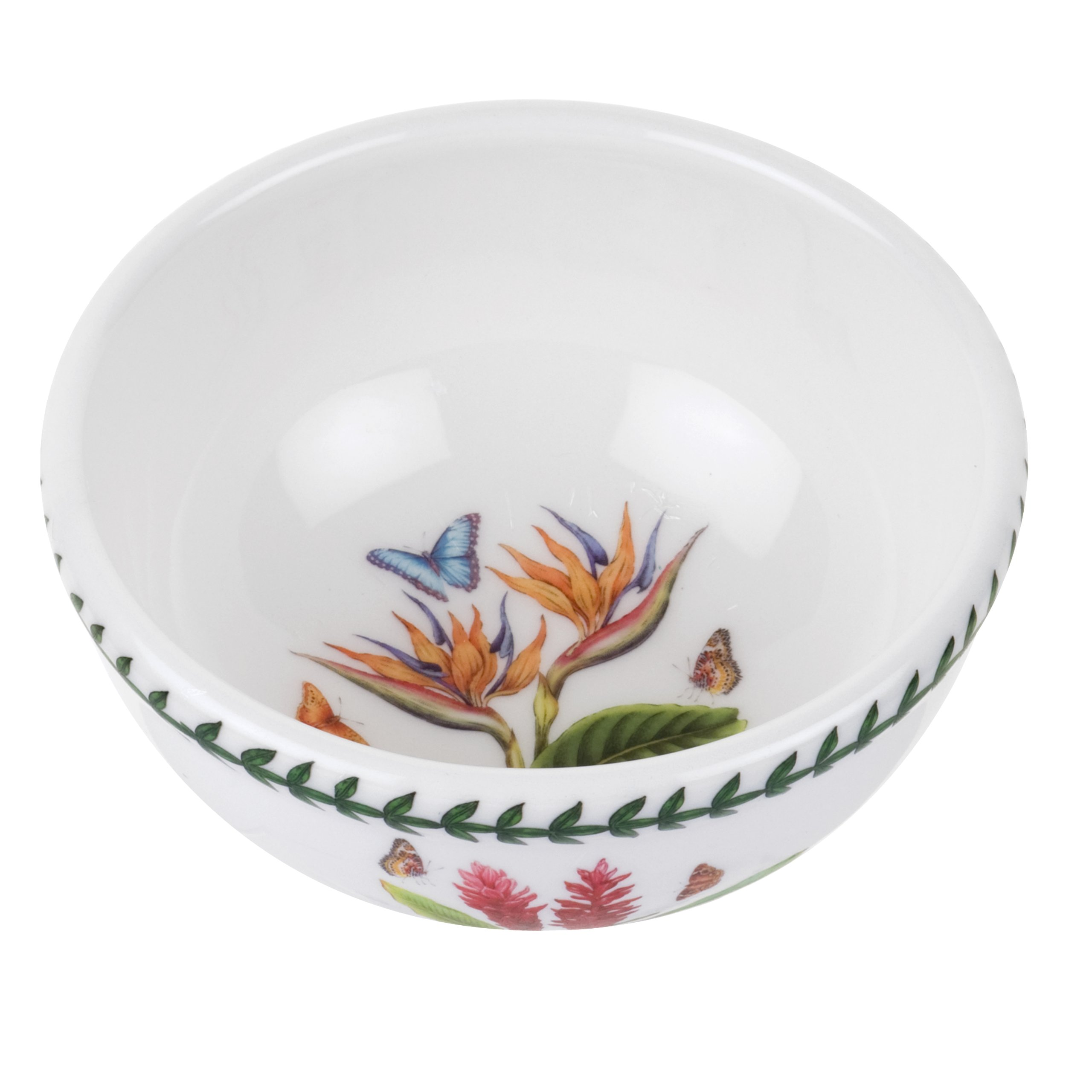 Portmeirion Exotic Botanic Garden Individual Fruit Salad Bowl with Bird of Paradise, Set of 6