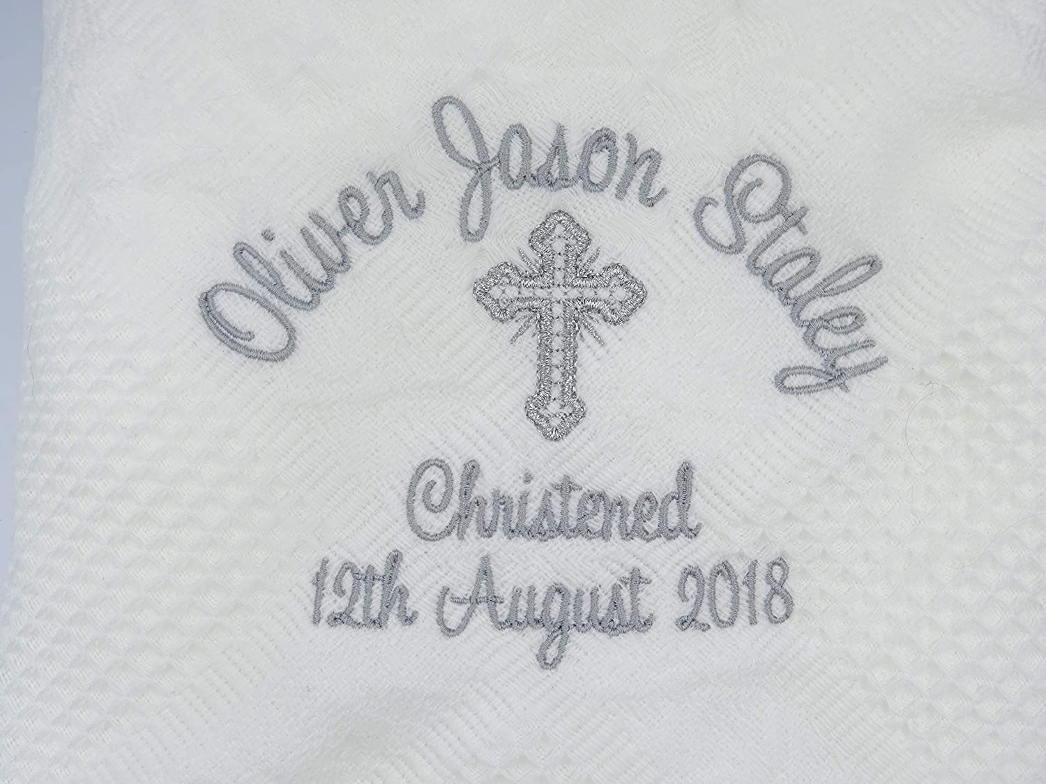 White Blanket Personalised Baby Christening//Baptism//Naming Day Shawl or Blanket Embroidered with **Full Name** and **Date** with Cross