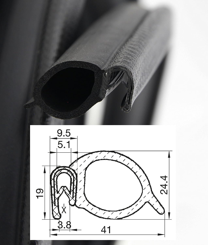 selbstklemmend ohne Kleber Klemmprofil aus weich PVC Klemmbereich 1-4,5mm 3 m DS6 Dichtungsprofil von SMI-Kantenschutzprofi mit seitlicher Dichtung aus EPDM Moosgummi einfache Montage