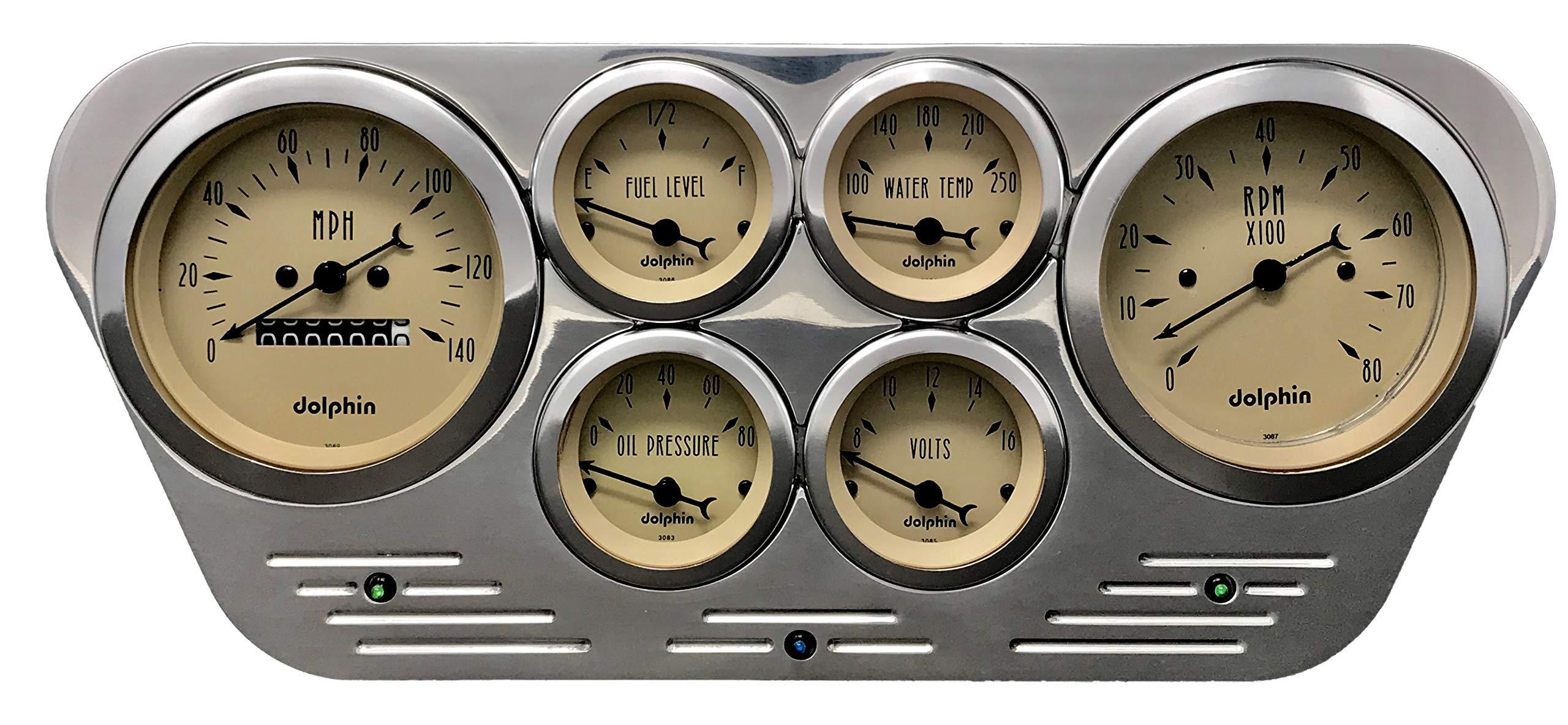Dolphin Gauges 1953 1954 1955 Ford Truck 6 Gauge Dash Cluster Panel Set Mechanical Tan