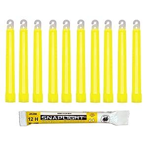 Cyalume Bâton lumineux jaune SnapLight Glow Sticks 15cm, Light Sticks très lumineux avec durée de 12 heures (Boite de 10)