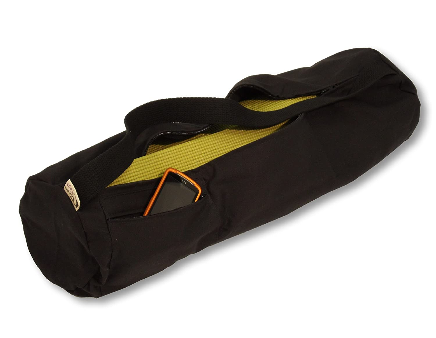 8 Round x 32 Long fits Manduka + Jade Extra Large - - Made in USA Easy Open Zipper Black Cotton Mat Bag