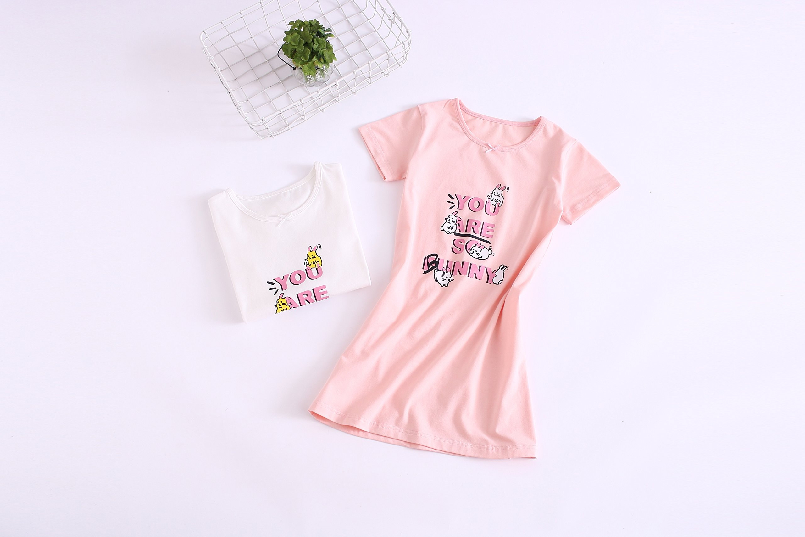 Big Girls' Animal Nightgowns Bunny Sleepwear Cotton Nightie Pink for Size 14 by AOSKERA (Image #3)