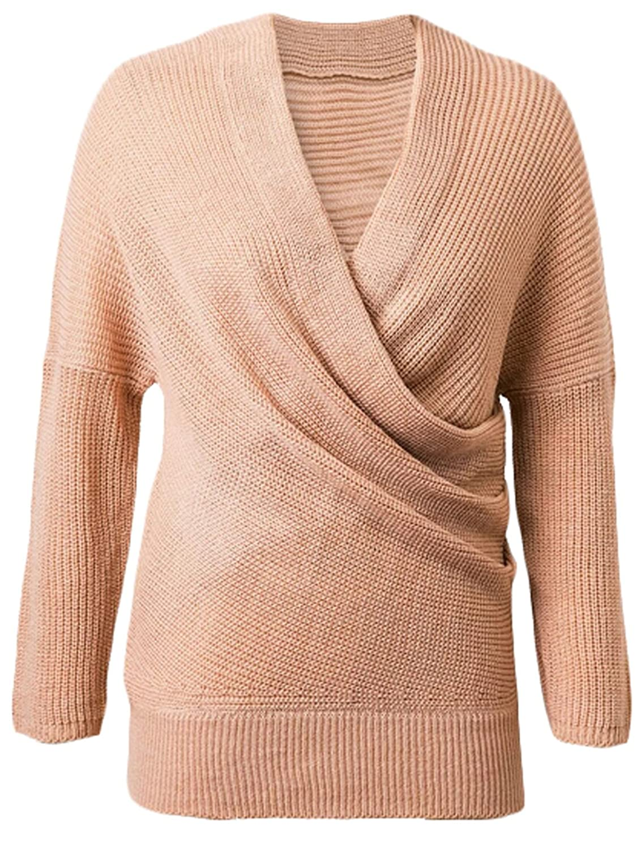 Yayu Women's V Neck Long Sleeve Pullover Sweater