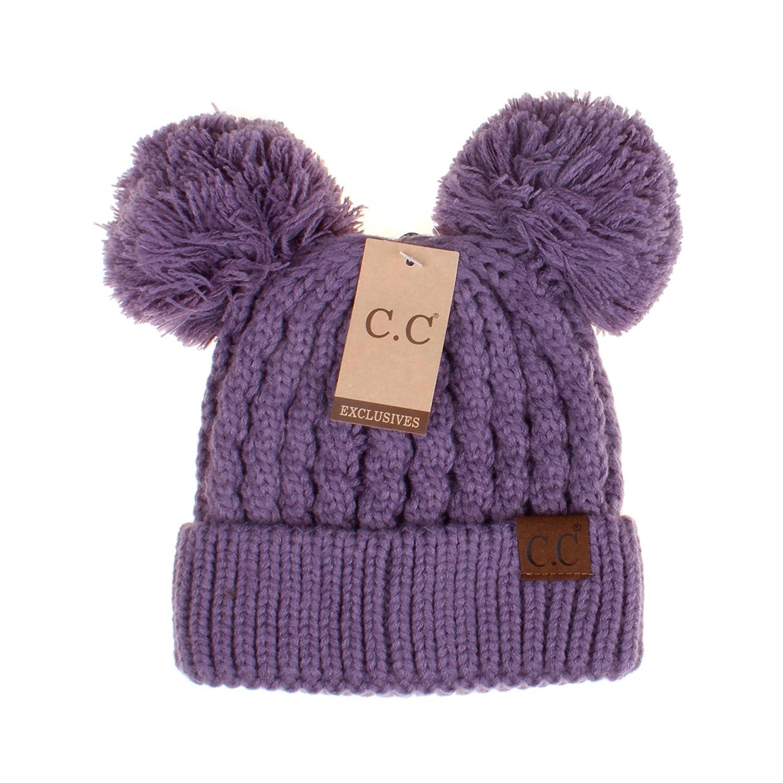 de9d03137e9e8d Amazon.com: Hatsandscarf CC Exclusives Cable Knit Double Pom Winter Beanie( HAT-60) (Violet): Home & Kitchen