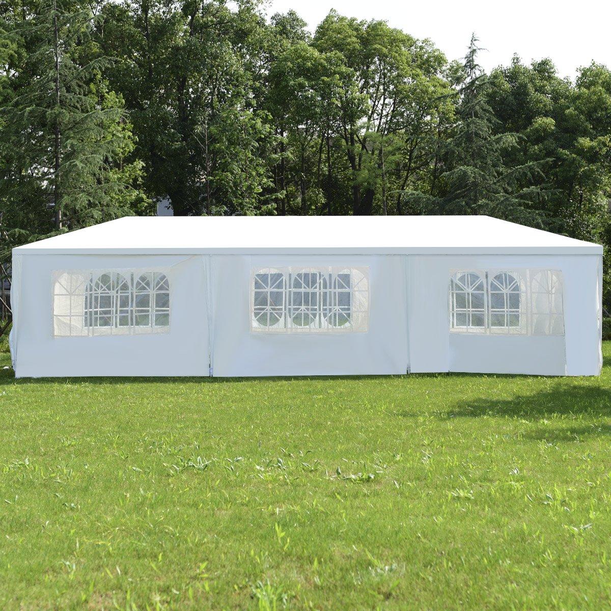 COSTWAY Partyzelt Gartenzelt Festzelt Hochzeit Pavillon Pavillon Pavillon Zelt Gartenpavillon Bierzelt mit Fenster 3x9m (Weiß) daa910