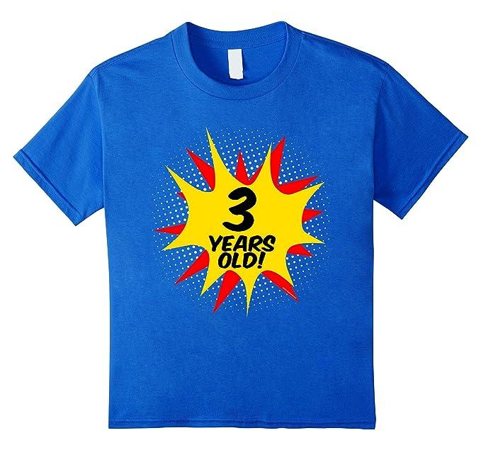 Kids Superhero 3 Year Old Boys Birthday T Shirt 4 Royal Blue