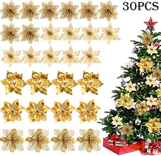 12 Light Gold Glitter Wooden Star Picks,Floristry,Wedding,Christmas,Party,Yule