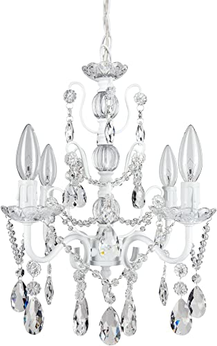 Amalfi Decor 4 Light LED Crystal Beaded Chandelier, Mini Wrought Iron K9 Glass Pendant Light Fixture Contemporary Nursery Kids Room Dimmable Plug in Hanging Ceiling Lamp, White