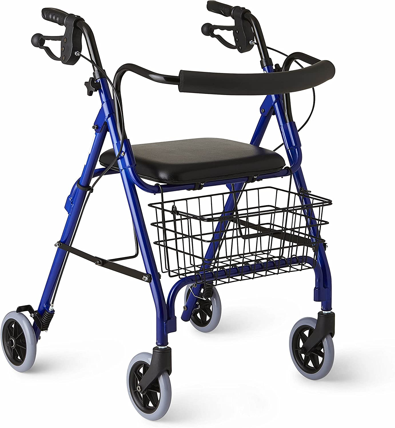 B0007VO08A Medline Deluxe Folding Rollator Walker, Blue 81HsAtia2BbL