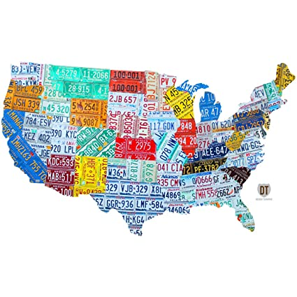 Amazon.com: United States License Plate Map Wall Decal 12 x 7 Garage ...