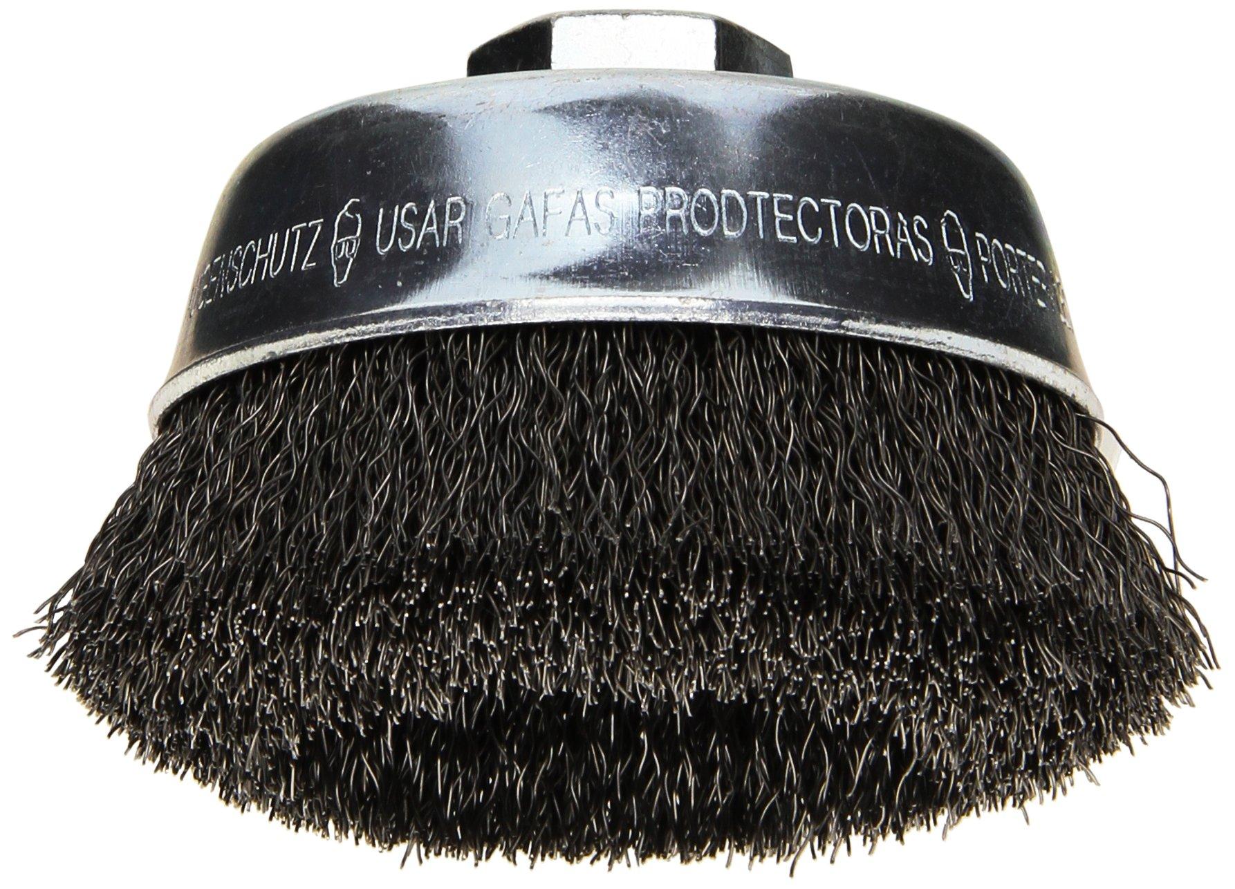 Bosch WB524 3 1/2-Inch Crimped Carbon Steel Cup Brush, 5/8-Inch x 11 Thread Arbor by Bosch