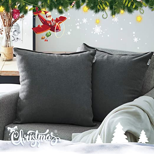 Topfinel juego 2 Hogar Algodón Lino Decorativa Almohadas Fundas de color sólido Para Sala de Estar sofás Gris oscuro 50x50cm