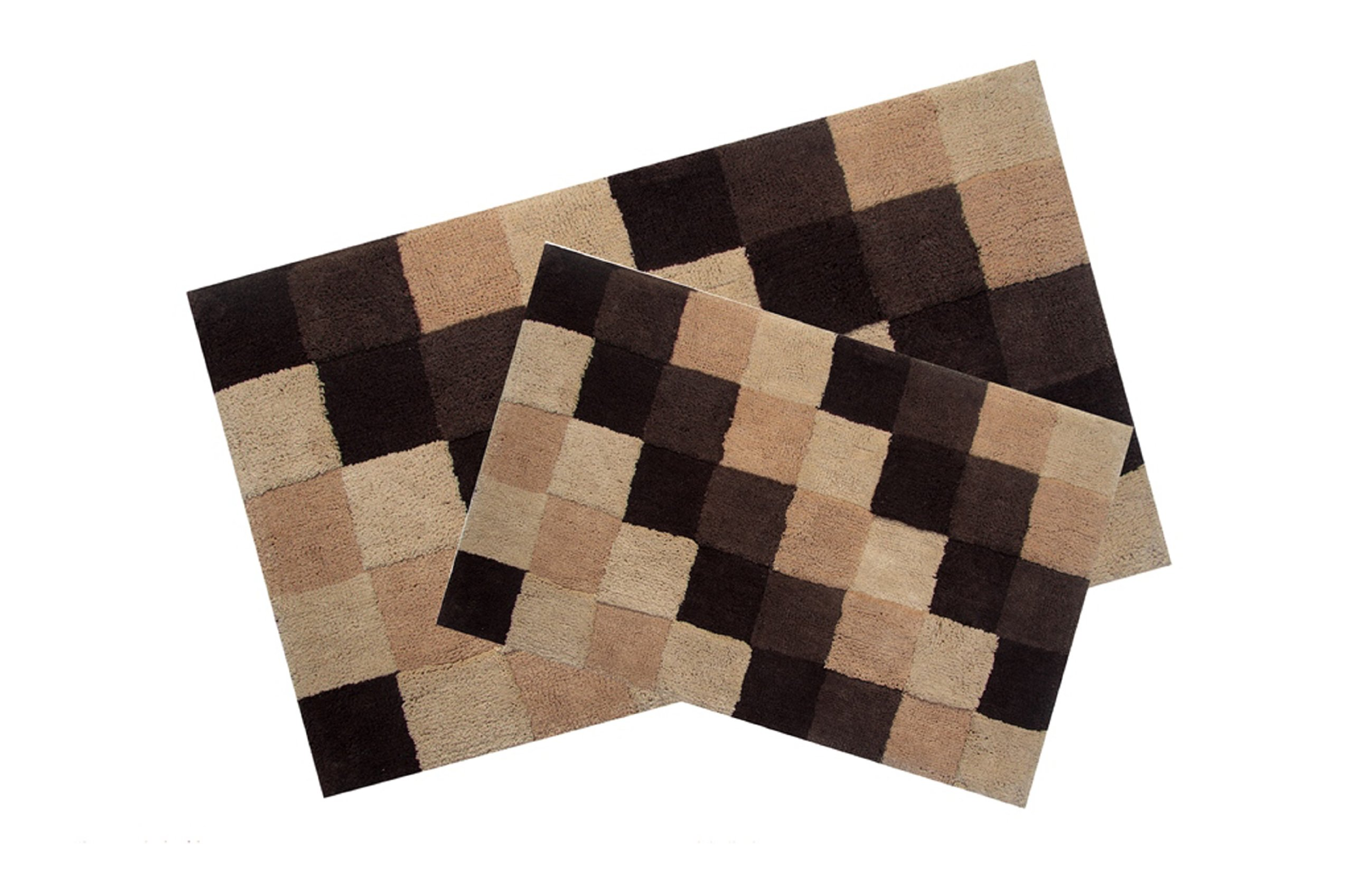 Better Trends / Pan Overseas Tiles 160 GSF 100-Percent Cotton 2-Piece Luxury Tufted Bath Rug Set, 24 by 40-Inch/17 by 24-Inch, Brown